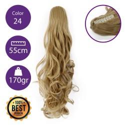 Coletero de fibra resistente al calor, cabello Rizado 55 cm largo 170gr COLOR 24 ( Rubio Claro Dorado )