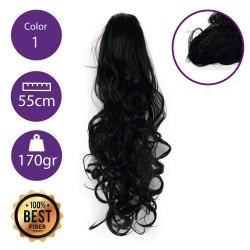 Coletero de fibra resistente al calor, cabello Rizado 55 cm largo 170gr COLOR 1 (Negro)