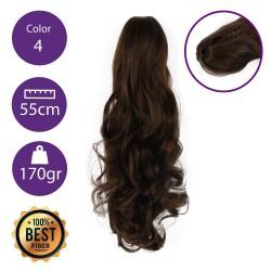 Coletero de fibra resistente al calor, cabello Rizado 55 cm largo 170gr COLOR 4 (castaño chocolate)