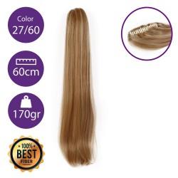 Coletero de fibra resistente al calor, cabello liso 60 cm largo 170gr COLOR 27/60 ( Rubio Dorado/ Rubio Platino )