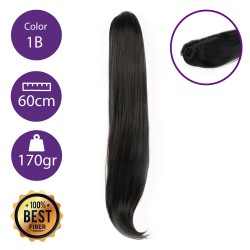 Coletero de fibra resistente al calor, cabello liso 60 cm largo 170gr COLOR 1B ( Negro Medio )