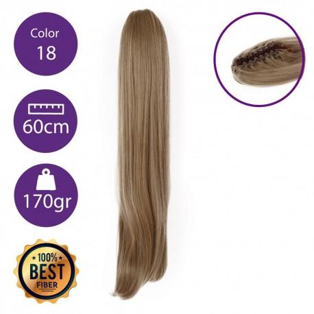 Coletero de fibra resistente al calor, cabello liso 60 cm largo 170gr COLOR 18 ( Rubio Ceniza )