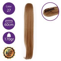 Coletero de fibra resistente al calor, cabello liso 60 cm largo 170gr COLOR 27 (Rubio Dorado)