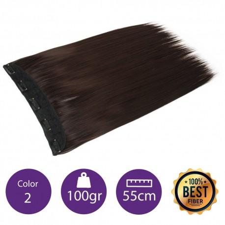 Extensiones de fibra resistentes al calor Cabello liso Color nº2 (Castaño Oscuro) 100gr, 55cm