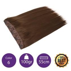 Extensiones de fibra resistentes al calor Cabello liso Color nº6 (Castaño claro) 100gr, 55cm