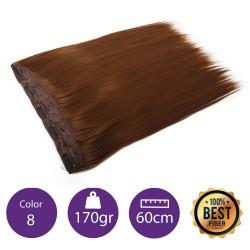 Extensiones de fibra resistentes al calor Cabello liso Color nº8 (Rubio dorado) 100gr, 55cm