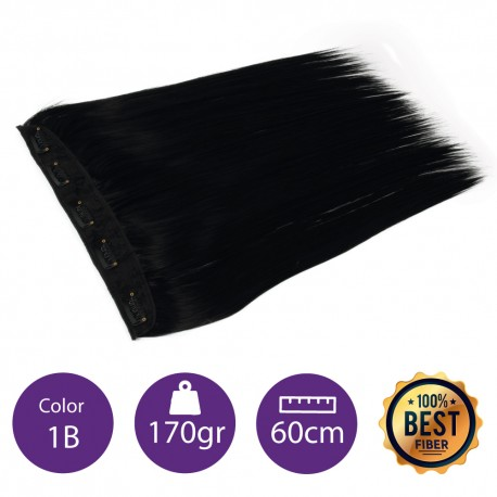 Extensiones de fibra resistentes al calor Cabello liso Color nº 1B ( Negro intermedio ). 100 Gr, 55cm