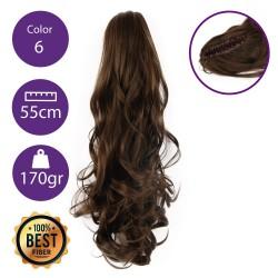 Coletero de fibra resistente al calor, cabello Rizado 55 cm largo 170gr COLOR 6 (castaño claro)