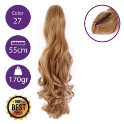 Coletero de fibra resistente al calor, cabello Rizado 55 cm largo 170gr COLOR 27 (rubio dorado)